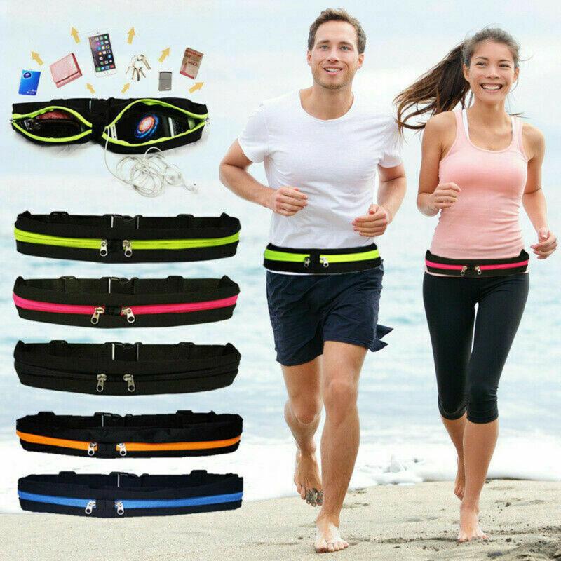Runner Waist Belt Bag Pack Pouch Bum Fanny Pack Waterproof  Sport Fitness Jogging Universal Dual Pocket