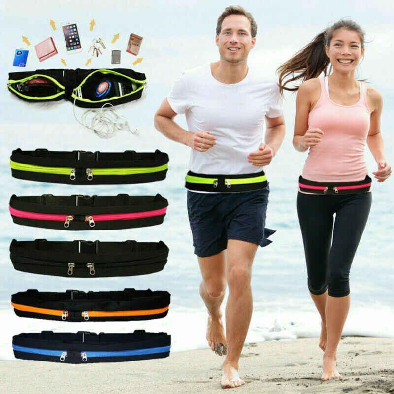 Dual Pocket Runner Waist Belt Bag Pack Pouch Bum Running Sports Jogging Gym Yoga