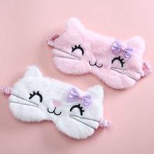 Peluş uyku maskesi körü körüne sevimli kedi göz kapağı çocuklar Anime uyku maskesi karikatür yumuşak peluş maskesi seyahat dinlenme uyku yardımı eyepatch