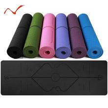 2019 New 1830*610*6mm TPE Anti-slip Yoga Mat with Position Line Waterproof Carpet Fitness Gymnastics