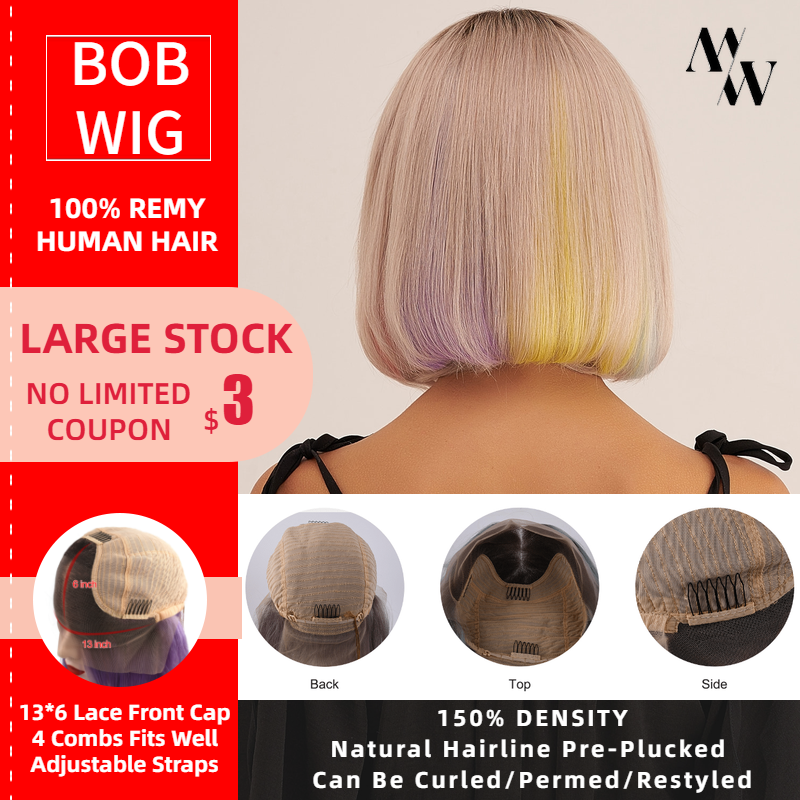 MW Balayage Remy Human Hair Half Lace Frontal Bob Wigs 10 Inch 12 Inch Short Colorful Wig Pre Plucked For Women Fast Delivery
