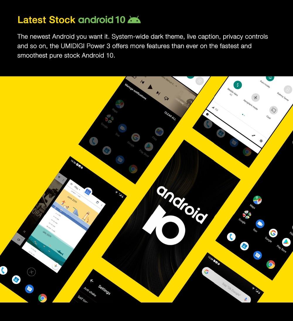 "H24bcbb7f3bcd4b7a9127d9c8f9bf7d4ch UMIDIGI Power 3 Android 10 48MP Quad AI Camera 6150mAh 6.53"" FHD+ 4GB 64GB Helio P60 Global Version Smartphone NFC Pre-sale"