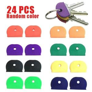 24Pcs Key Top Cover Cap Head Tag ID Markers Top Caps Mixed Topper Keyring Sort Plastic Key Cover for House Room Box Key