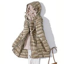 7XL Winter Ultra Light Down Jacket Women Fashion Casual 90% White Duck Down Jacket Plus Size Long Hooded Coat Waterproof Parka