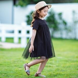 Image 2 - Mới 2020 Trẻ Em Quần Áo Cho Bé Công Chúa Váy Lưới Miếng Dán Cường Lực Bé Gái ĐẦM DỰ TIỆC Tuổi Thiếu Niên Trẻ Em Mùa Hè Cotton Dễ Thương, #8402