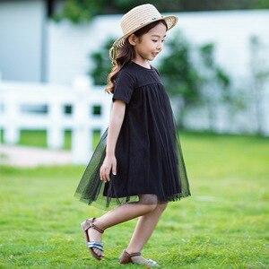 Image 2 - Nowy 2020 odzież dziecięca dziecko księżniczka sukienki siatkowy Patchwork sukienka dla dziewczynek na imprezę nastoletnia dziecięca letnia sukienka bawełniana śliczna, #8402