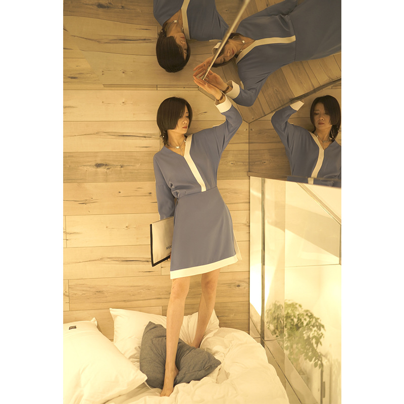 Iliad Origional Design Spring V-neck Shift Type Simple COS Dress Two-piece Dress Lace-up Short Skirt