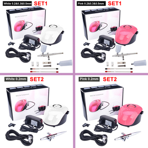 Image 5 - 0.2&0.3&0.5mm 3 Nozzles Airbrush With Compressor Dual Action Spray Guns Model DIY Tattoo Cake Paint Nail Airbrush 3 Speeds Modes