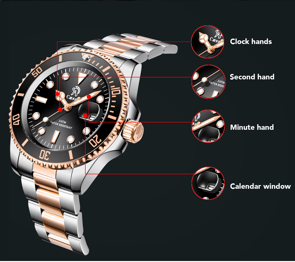 H24bd142438c64b6b9f83c304112b65e9M Rose Gold caesar  Top Brand Luxury Watches