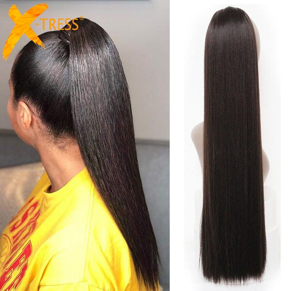 Синтетические накладные волосы на заколках для волос с хвостом для черных женщин, черные, Омбре, коричневый цвет, прическа
