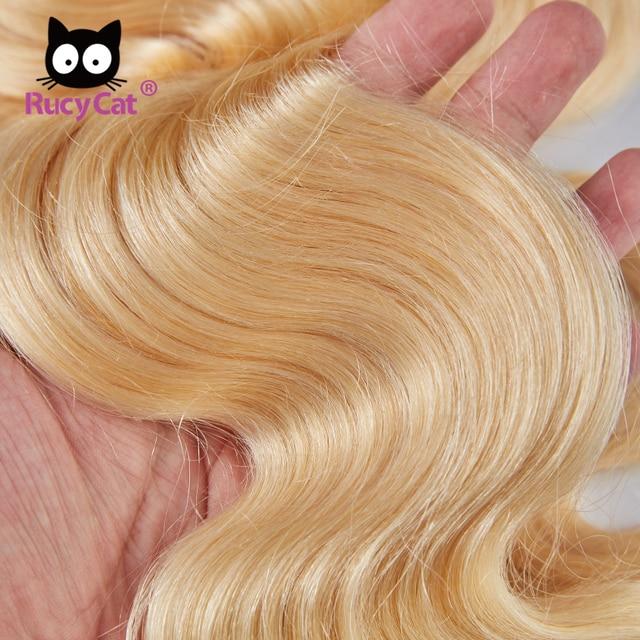Pelo brasileño de la onda del cuerpo 613 paquetes de la armadura del pelo humano Rubio paquetes 613 Color completo 3/4 PC Remy extensión del pelo