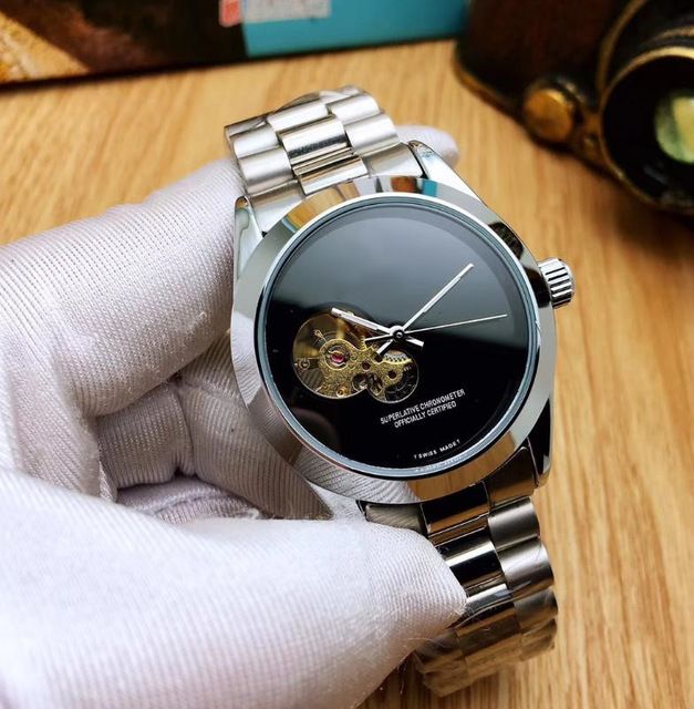 Men's stainless steel 2019 men's watch with automatic gold date and skeleton