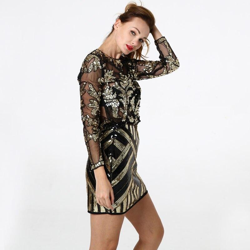 BLINGSTORY élégant Sequin perle maille à manches longues chemise Vintage diamant broderie embelli Blouse Top femmes chemises KR204 - 5