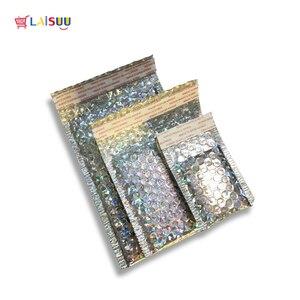 Image 5 - 50 pçs/lote Holographic Envelope Bolha Aluminizado Bubble Bag Engrosse High end Roupas Co Filme extrudado Expressar Envelopes de Espuma