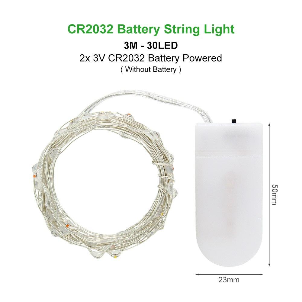 ANBLUB, 2 м, 3 м, 5 м, 10 м, наружный светодиодный гирлянда, праздничное освещение, Сказочная гирлянда для рождественской елки, украшения для свадебной вечеринки - Испускаемый цвет: 3M by CR2032 Battery