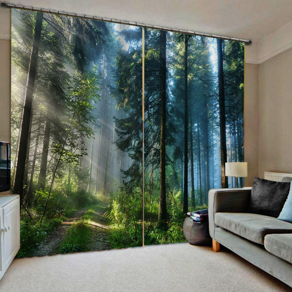 Green Forest Curtains 3D Blackout Curtains Living Room Bedroom Hotel Window Curtains Sun