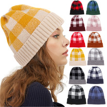 2019 New Women Clothing Knit Hat Girl Autumn and Winter Plaid Wool Hats Piledup Cap Warm Baotou Hat Fashion Ladies Winter Caps