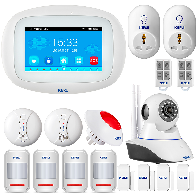 KERUI K52 WIFI GSM Alarm Systems Panel 4.3 Inch TFT Color Display Security Home Smart Residential Wireless Burglar Alarm Kit