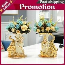 2021 European Style Ceramic Golden Swan Vase Arrangement Dining Table Home Decoration Accessories Creative Golden Elephant Vases