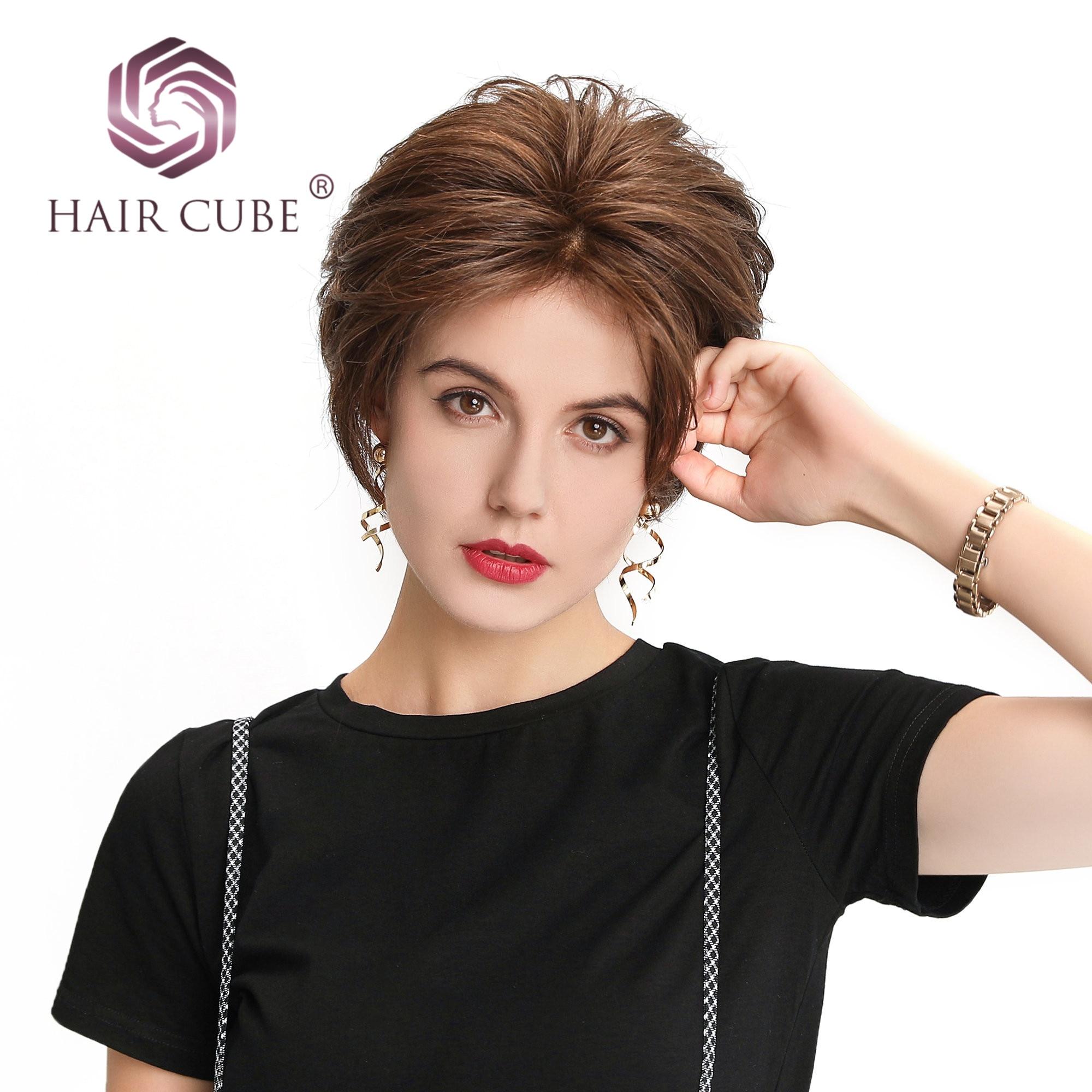 Haircube synthétique dentelle avant perruques 6 pouces 50% cheveux humains mélange Pixie coupe courte perruque de cheveux avec ligne de cheveux naturelle pour les femmes 4 couleurs