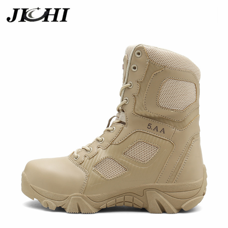 Closeout DealsJICHI Mens Boots Desert Combat Tactical Outdoor Fashion 39-47 Ankle Wear-Resisting Hiking