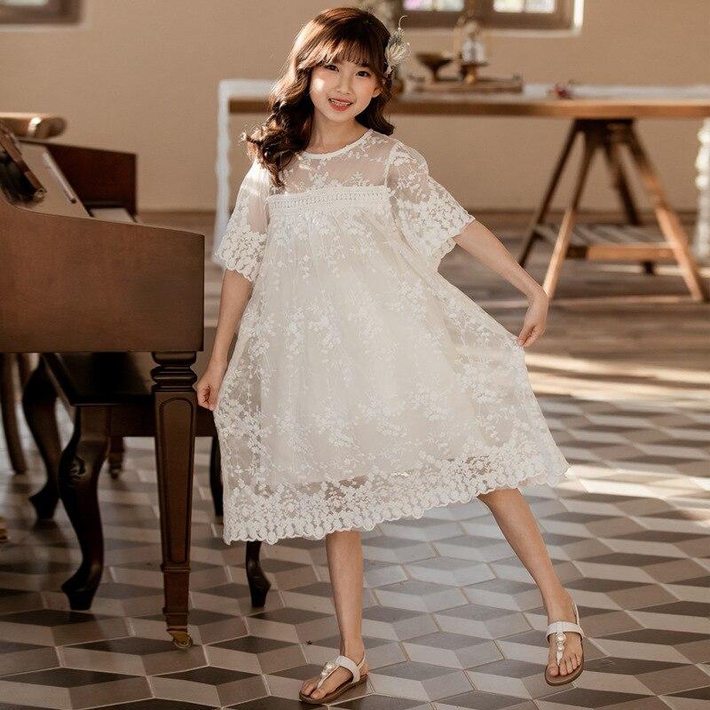 Girls Kids Summer Patchwork Button Up Lace Sun Dress Floral Print Party Dress