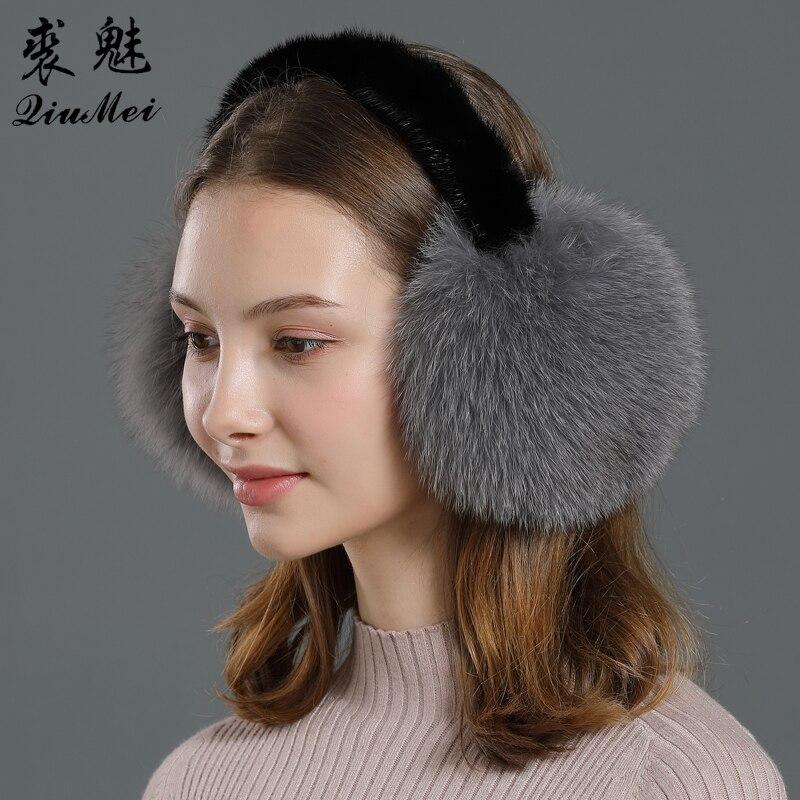 Genuine Fox Fur Headphones Women Earmuffs Ear Warmer Real Mink Fur Frame 2020 Luxury Big Pompom Fluffy Fox Fur Ear Muffs Winter