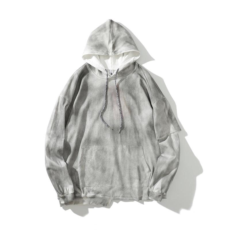 Grey Tie-Dye Distressed Hoodies Hip Hop Double Sleeve Cropped Sweatshirt