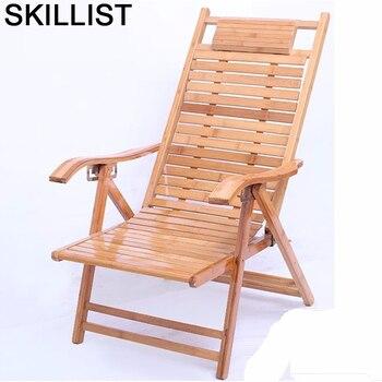 Poltrona, Cama Plegable de bambú, lavable, grifería Reclinable, Sillones de salón modernos...