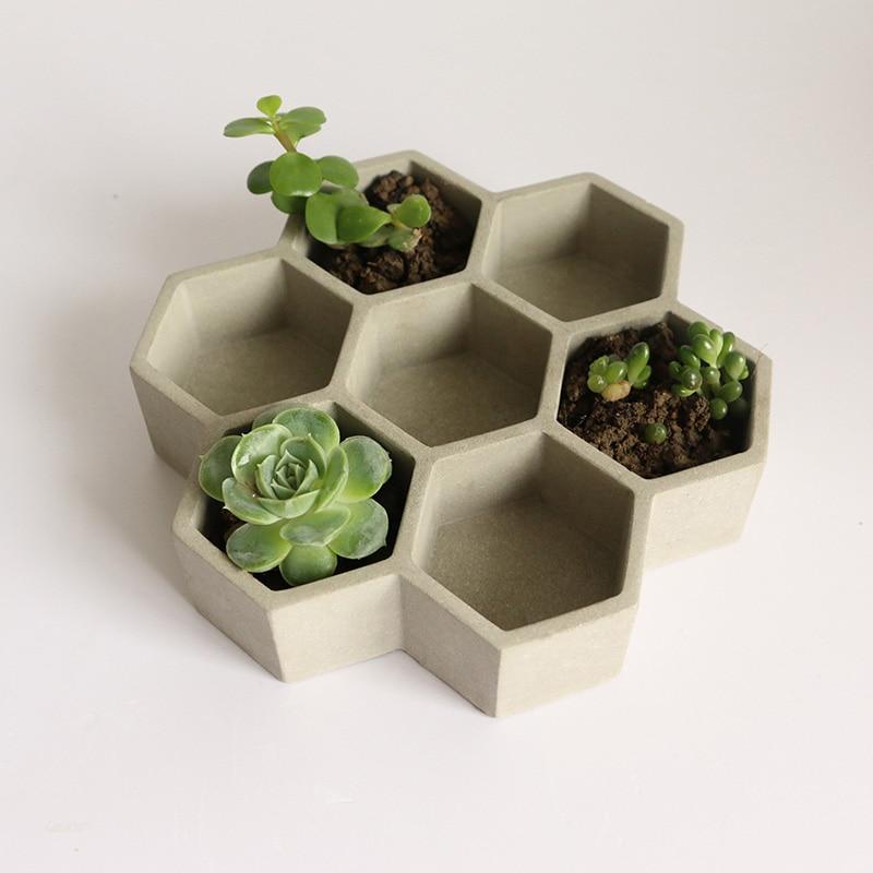 Porous Hexagonal Flowerpot Silicone Mold Honeycomb Cement Storage Box Jewelry Box Mold