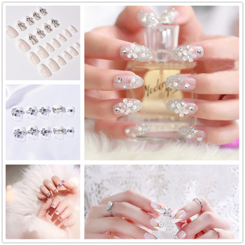 24 PCS Shining Rhinestone False Nails Square Full Short Fake Nails Transparent Lace Designed Fashion Nep Nagels image