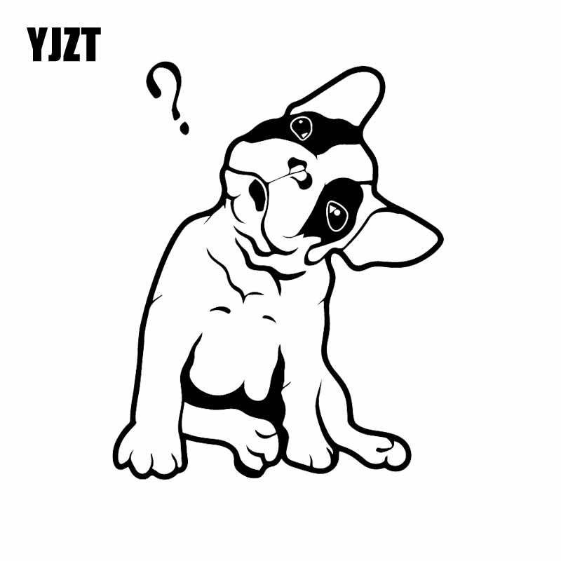 YJZT 12.8X16.2CM French Bulldog Cute Puppy Pet Question Mark Car Stickers Vinyl Decal Black/Silver C24-1501