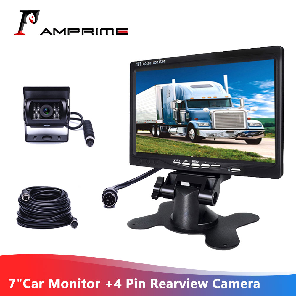 "7/"" LCD Monitor Rear View Kit For RV Bus Truck 12V//24V 4Pin Car Reversing Camera"