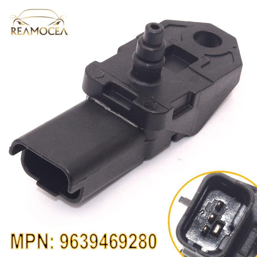 Reamocea 3Pin Black Plastic <font><b>Turbo</b></font> Boost Pressure MAP Sensor 9639469280 1231463 Fit for <font><b>Peugeot</b></font> 1007 206 307 <font><b>407</b></font> 1.6 <font><b>2.0</b></font> <font><b>HDI</b></font> 2004 image