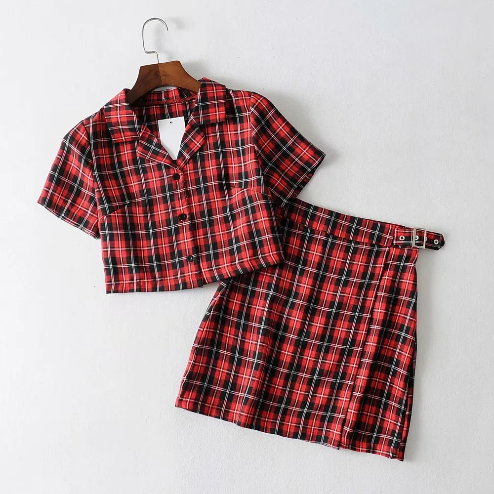 Vintage Plaid Tracksuit Women 2 Two Piece Set Casual 2019 Short Top Shirts+ Mini Skirt Matching Sets Outfits Conjuntos Mujer New