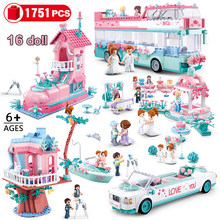 Girls City Wedding Party Building Blocks Compatible Legoinglys Friends Princess Wedding Bus Car Bricks Toys for Girl Children(China)