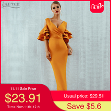 Adyce 2020 New Summer Yellow Red Women Bodyco Club Dress Sexy V Neck Ruffle Butterfly Short Sleeve Midi Celebrity Party Dresses