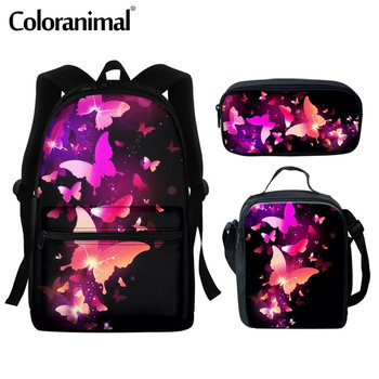 Coloranimal  Kid School Bags Girls Trippy Butterfly Design Schoolbags Primary Student Large Capacity Backpack Sets mochila bolsa цена 2017