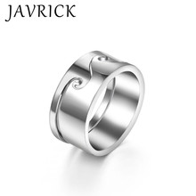 1 Set Silver Beach Wave Ring Simple Couples Lover Matching Band Romantic Jewelry