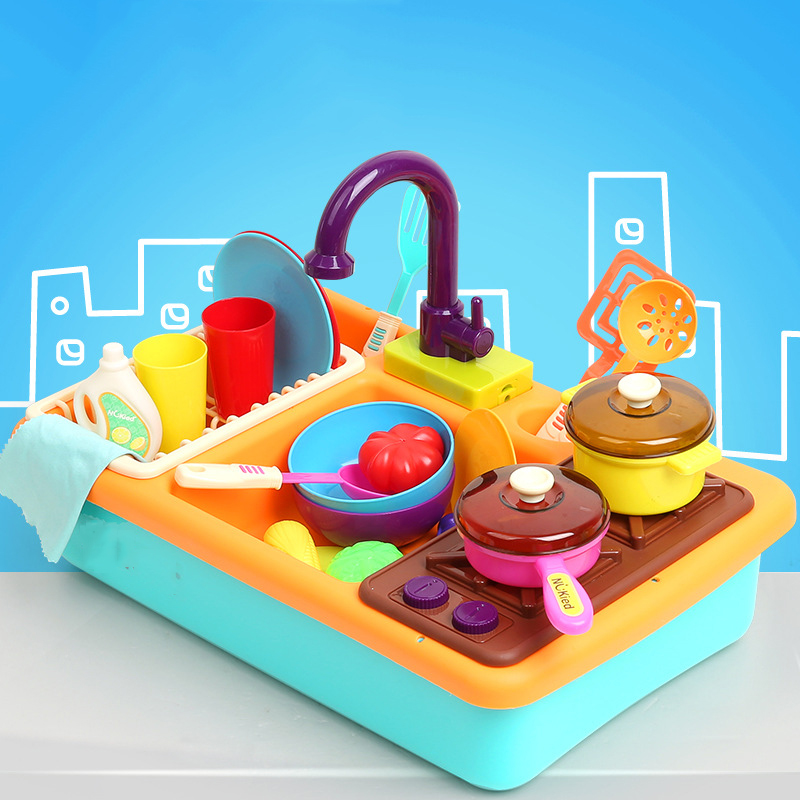Kitchen Toy Pretend Play Toys Children Simulation Automatic Wash-up Kitchen Sink Small Pool Circulation Water Dishwashing Set