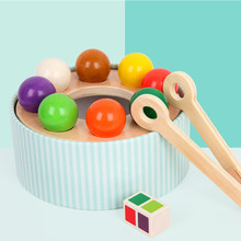Wooden breeding brain rainbow Clip ball toy haba rainbow billiard exercise hand eye coordination early education Puzzle kids toy(China)