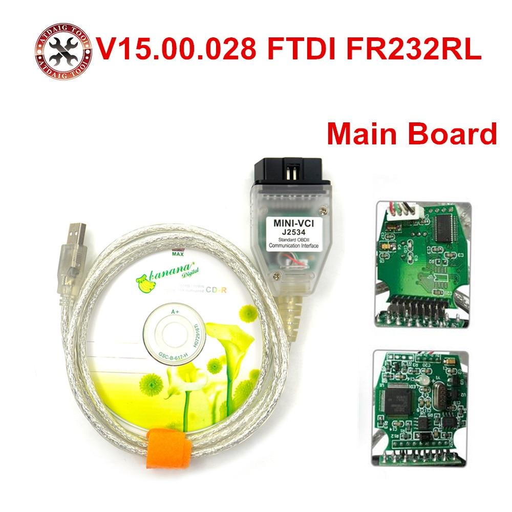 Последняя версия. 028 MINI VCI интерфейс для TOYOTA TIS Techstream J2534 OBD2 OBDII диагностический инструмент