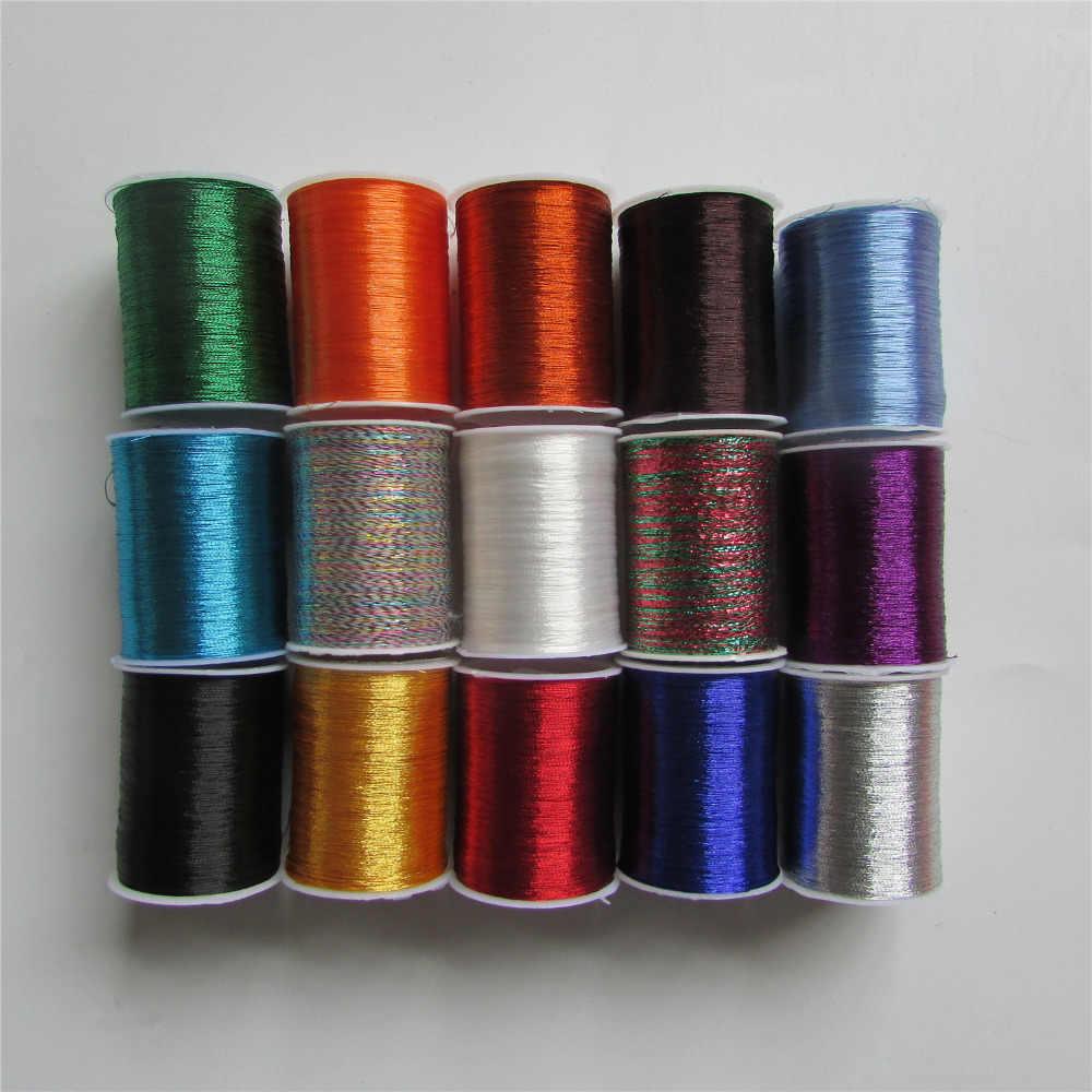 Máquina de coser de hilo de bordar de metal, 14 tipos de colores, hilo DIY para ropa, funda de almohada, Sábana de cama, 1 unidad