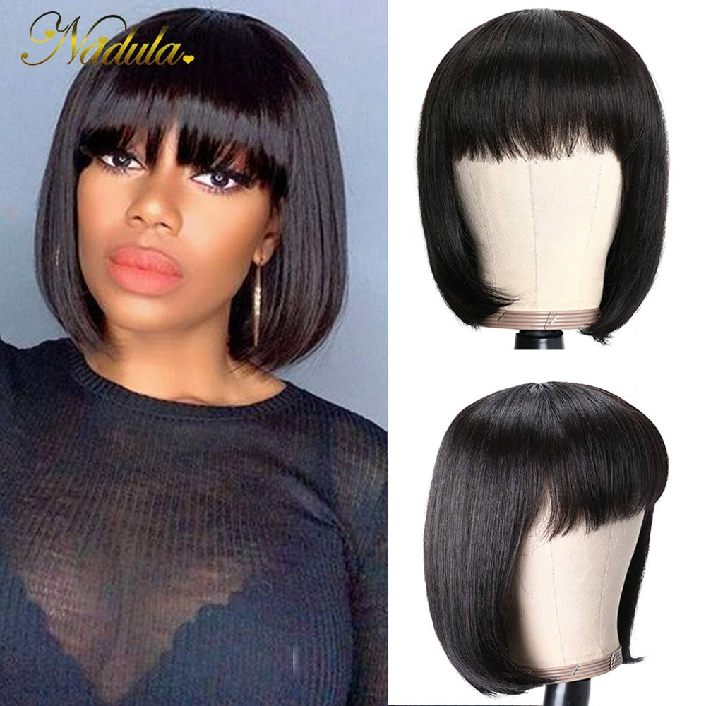 Nadula Short  Wigs With Bangs Full Machine Made Wig Straight Short Bob  Wigs  Natural Color 1