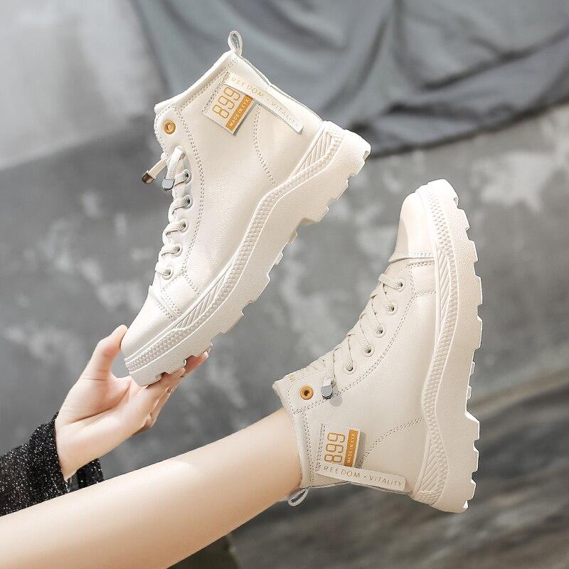 Женские ботильоны из натуральной кожи, белые повседневные ботинки на шнуровке, с принтом, зима 2020|Полусапожки| | АлиЭкспресс