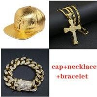 Men hip hop cap Golden Cross cap hat +Necklace+bracelet Set jewelry Diamond ice out cuban chian Jewellery set