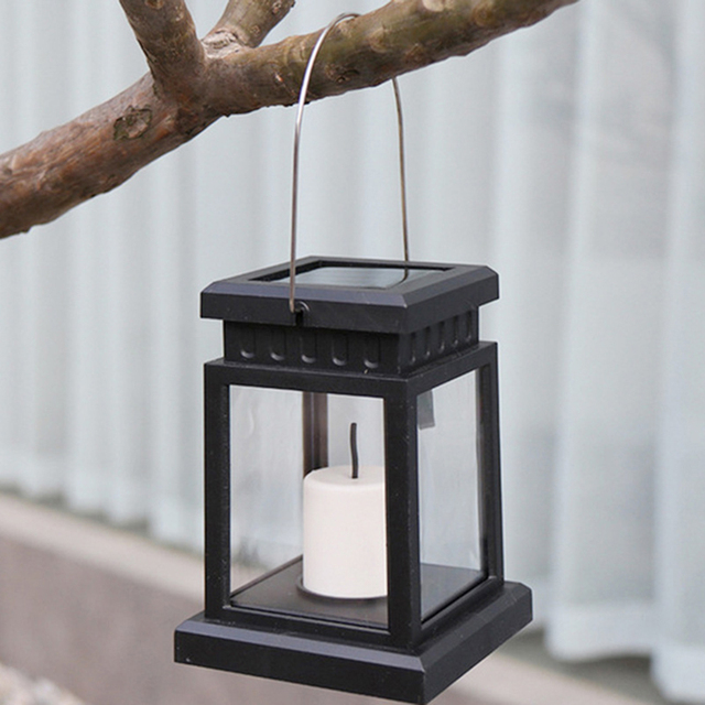 Home garden decoration light led outdoor twinkle candle lantern solar powered warm flame flashing tea light outdoor lamp