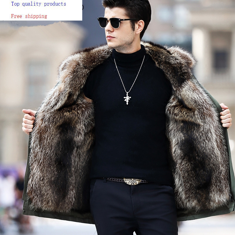 Real Fur Coat Men Parka Winter Jacket Natural Raccoon Fur Liner Long Warm Coat Hooded Parkas Hombre Outerwear 91716