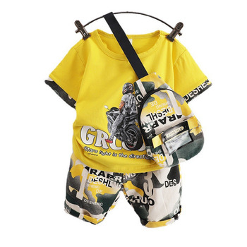 New Boys Clothing Summer Baby Girls Clothes Children Sport T-Shirt+Shorts+Bag 2Pcs/Sets Toddler Fashion Costume Kids Tracksuits