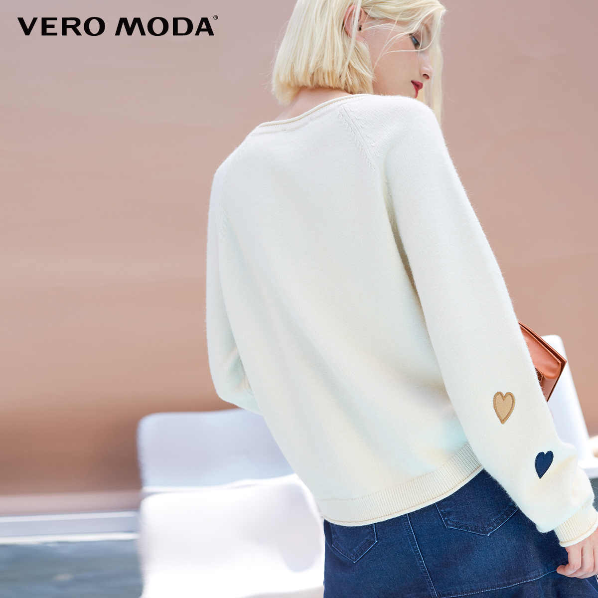 Vero Moda 2019 свитер женский женский свитер с узором в виде сердца и открытыми плечами, свободный крой, шикарный | 318313505